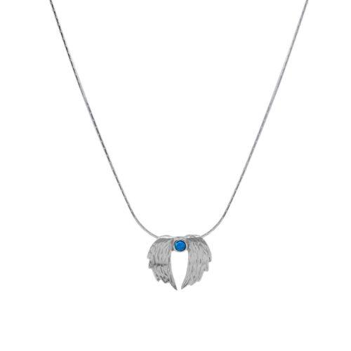 שרשרת כנפיים מכסף אמיתי 925 בשילוב אבן אופאל