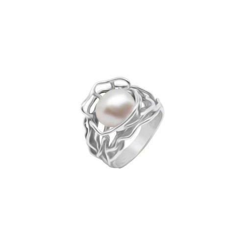 טבעת רחבה פרח פנינה מכסף אמיתי 925