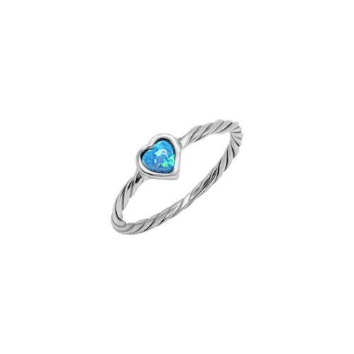 טבעת קלועה לב מכסף אמיתי 925 בשילוב אבן אופאל