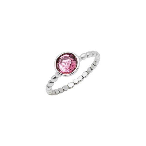 טבעת חרוזים מכסף אמיתי 925 בשילוב אבן רוז קוורץ